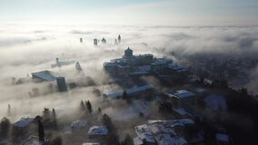 Bergamo. Drone aerial view of an amazing landscape of the fog rises from the plains and covers the old town. Bergamo, Italy. Drone aerial view of an amazing stock video footage