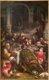 Bergamo - farba Ostatnia kolacja Chrystus od 16. centu. zdjęcia royalty free
