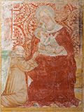 Bergamo - Giottesque medieval fresco of Madonna from 14. cent. in Basilica di Santa Maria Maggiore Stock Photography