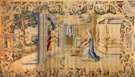 Bergamo - Gobelin of Annunciation in church Santa Maria Maggiore Royalty Free Stock Photo