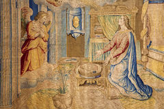 Bergamo - gobelin dell'annuncio in chiesa Santa Maria Maggiore Immagini Stock Libere da Diritti
