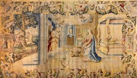 Bergamo - gobelin dell'annuncio in chiesa Santa Maria Maggiore Fotografia Stock Libera da Diritti