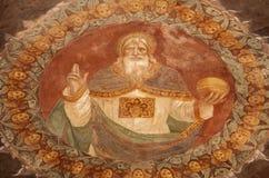 Bergamo - God van de de freskovorm van de Schepper al van de kerkMichele pozzobianco Stock Afbeelding