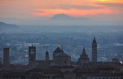 Bergamo high town. Sunrise on bergamo from the old town, italy Royalty Free Stock Images