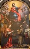 Bergamo - The Immaculate conception with the saints by Cristoforo Allori from 17. cent.in the church Chiesa di San Pancrazio. Stock Photos