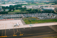 Bergamo, Italy. Aerial View Of Runway Of Orio Al Serio International Airport. Royalty Free Stock Image