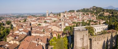 Bergamo, Italy. Amazing drone aerial view of the old town. Landscape at the city center, its historical buildings and the towers stock photos