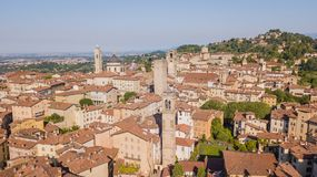 Bergamo, Italy. Amazing drone aerial view of the old town. Landscape at the city center, its historical buildings and the towers stock images