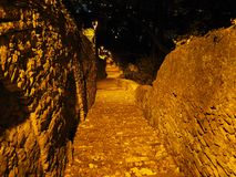 Bergamo, Italy. The ancient stone stairs that lead from the low city to the old one during evening.  Stock Images