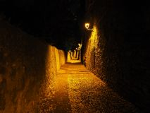 Bergamo, Italy. The ancient stone stairs that lead from the low city to the old one during evening.  Stock Photos