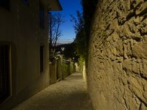 Bergamo, Italy. The ancient stone stairs that lead from the low city to the old one during evening. And spring time Royalty Free Stock Photography