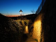 Bergamo, Italy. The ancient stone stairs that lead from the low city to the old one during evening. And spring time Royalty Free Stock Photos