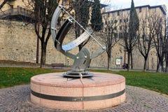 Sculpture of ancient astronomic measurement tool. BERGAMO, ITALY - DECEMBER 2017: Sculpture of ancient astronomic measurement tool Royalty Free Stock Photo