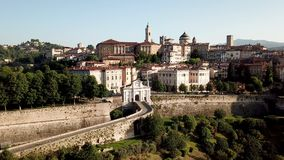 Bergamo, Italy. Drone aerial view of the old gate San Giacomo and historical building. The Old town. One of the beautiful city in Italy stock video footage