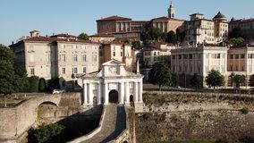 Bergamo, Italy. Drone aerial view of the old gate San Giacomo and historical building. The Old town. One of the beautiful city in Italy stock footage