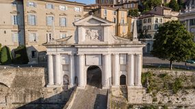 Bergamo, Italy. Drone aerial view of the old gate San Giacomo and historical building. The Old town stock images