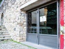 Archaeological area Vicolo Aquila Nera Bergamo. BERGAMO, ITALY - FEBRUARY 25, 2019: entrance to archaeological area of Vicolo Aquila Nera of royalty free stock photos