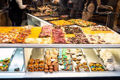 Bakery with local sandwiches and sweets for lunch royalty free stock photography
