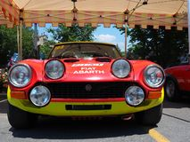 Bergamo, Italy. Fiat Abarth historic car, body style details stock photography