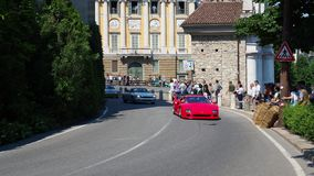 Bergamo, Italy. Historical Gran Prix. Parade of historic cars along the route of the Venetian walls that surround the old city stock footage