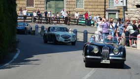 Bergamo, Italy. Historical Gran Prix. Parade of historic cars along the route of the Venetian walls that surround the old city stock video footage