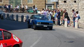 Bergamo, Italy. Historical Gran Prix. Parade of historic cars along the route of the Venetian walls that surround the old city stock video
