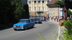 Bergamo, Italy. Historical Gran Prix. Parade of historic cars along the route of the Venetian walls that surround the old city royalty free stock photo