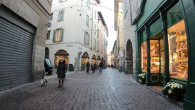Bergamo, Italy. Hyperlapse walking along the streets of the old town stock video