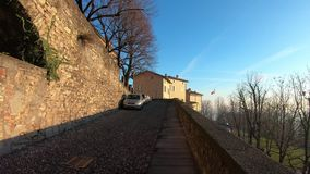 Bergamo, Italy. Hyperlapse walking along the streets of the old town stock video footage
