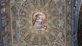 Bergamo, Italy. Interior View of the Basilica di Santa Maria Maggiore stock video footage