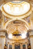 Bergamo, Italy - Jan 25, 2019 - Inside Interior of Cathedral in Citta Alta, Cattedrale di Bergamo, a Roman Catholic cathedral with. Paintings and decorations of royalty free stock photo