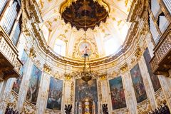 Bergamo, Italy - Jan 25, 2019 - Inside Interior of Cathedral in Citta Alta, Cattedrale di Bergamo, a Roman Catholic cathedral with. Paintings and decorations of royalty free stock photos