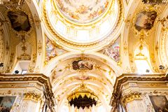 Bergamo, Italy - Jan 25, 2019 - Inside Interior of Cathedral in Citta Alta, Cattedrale di Bergamo, a Roman Catholic cathedral with. Paintings and decorations of royalty free stock image