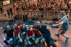 Kalevala hms @ Malpaga Folk and Metal Fest BG 29-07-2018. Bergamo, Italy - July 29, 2018: The Italian Folk Rockers band KALEVALA HMS performs at 6th Folk and Stock Photography