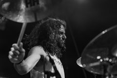 Atavicus at Malpaga Folk and Metal Fest BG 29-07-2018. Bergamo, Italy - July 29, 2018: The Italian Metal band ATAVICUS performs at 6th Folk and Metal Fest of Royalty Free Stock Photos
