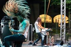 Atavicus at Malpaga Folk and Metal Fest BG 29-07-2018. Bergamo, Italy - July 29, 2018: The Italian Metal band ATAVICUS performs at 6th Folk and Metal Fest of Stock Photos