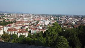 Bergamo, Italy. Landscape at the downtown from the old town located on the top of the hill. Summer time stock footage