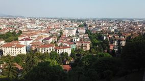 Bergamo, Italy. Landscape at the downtown from the old town located on the top of the hill. Summer time stock video