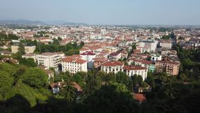 Bergamo, Italy. Landscape at the downtown from the old town located on the top of the hill. Summer time stock video footage