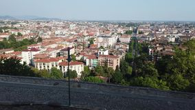 Bergamo, Italy. Landscape at the downtown from the old town located on the top of the hill stock video footage