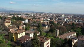Bergamo, Italy. Landscape on the new city downtown from the old town located on the top of the hill.  stock video footage