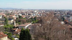Bergamo, Italy. Landscape on the new city downtown from the old town located on the top of the hill.  stock video