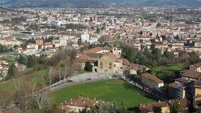 Bergamo, Italy. Landscape on the new city downtown from the old town located on the top of the hill. Spring time stock video footage