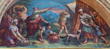 BERGAMO, ITALY - MARCH 16, 2017: The fresco The Moses and Jews Gathering the Manna in the Desert  Royalty Free Stock Images