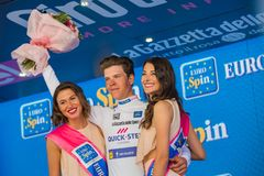 Bergamo, Italy May 21, 2017; Bob Jungels on the podium royalty free stock images