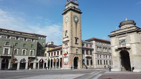 Bergamo, Italy. The memorial tower or Torre dei Caduti in Italian located in the the city center. A famous landmark stock video footage