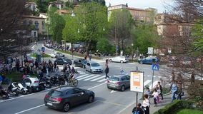 Bergamo, Italy. The old city. Landscape at the cross Colle Aperto with a lot of people. Spring time stock video footage
