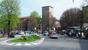 Bergamo, Italy. The old city. Landscape at the cross Colle Aperto with a lot of people. Spring time stock footage