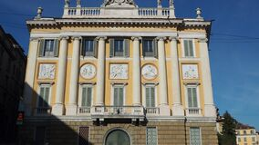 Bergamo, Italy.The old and historical buildings at the upper town. The Medolago Albani Palace. Bergamo, Italy. The Old city. The old and historical buildings at stock video footage