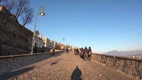 Bergamo, Italy. The old town. Hyperlapse walking to the old gate Porta San Giacomo stock video
